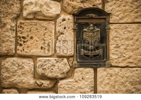 Old letterbox in the city of Valletta on the island of Malta, Southern Europe