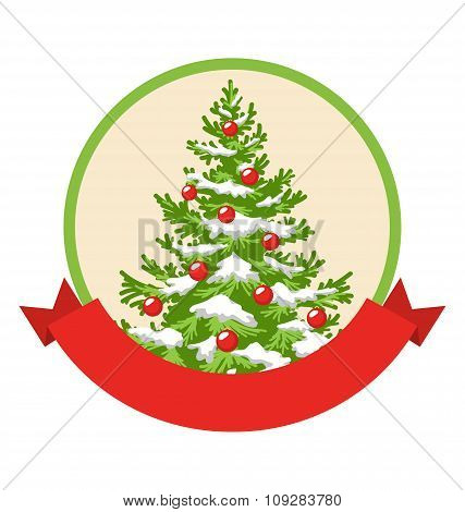 Christmas Winter Label Icon with Decoration Evergreen Tree Isola
