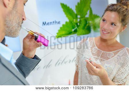 puffing e-cigarette
