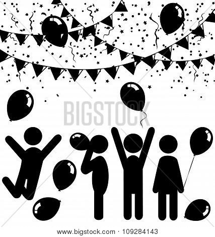 Flat celebration icons with air balloons, confetti and buntings