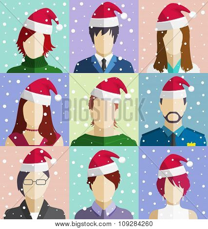 Set of Christmas People Faces in Hat in Snowfall Flat Icons