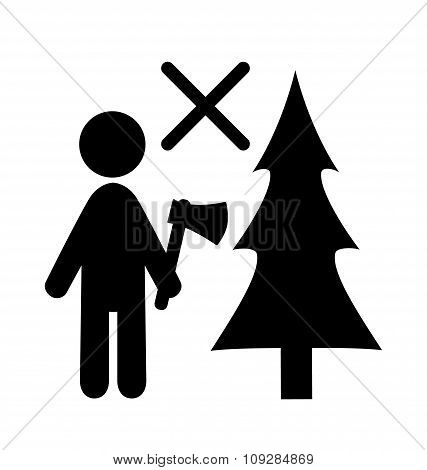 Winter Attention Do Not Chop Christmas Tree Flat Black Pictogram