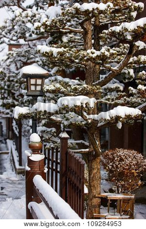Takayama town in Japan on winter day