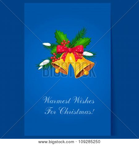 Christmas Bells with Bow and Berries. Holiday Vector