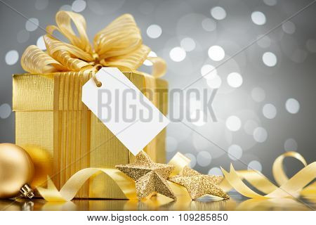 Christmas decoration over old wooden background