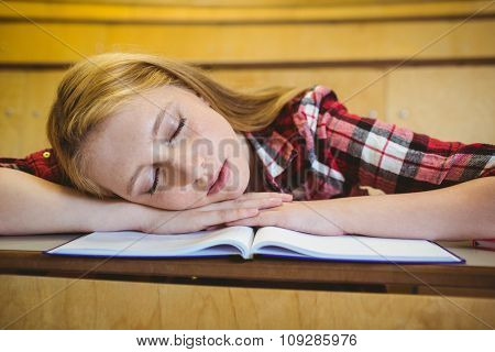 Pretty student sleeping on notebook at the university