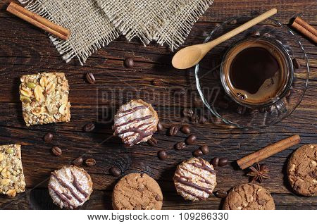 Background With Cookies And Coffee