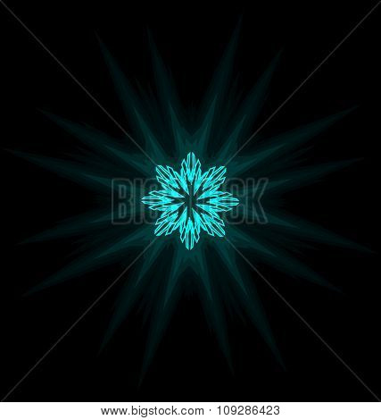 Self-illuminated cyan snowflake isolated on black