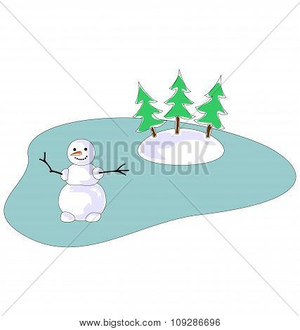 Snowman on Frozen Lake with Three Tree Isolated on White