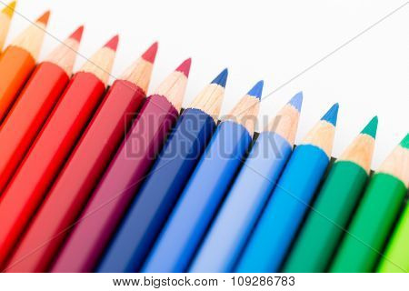 Colourful pencil on white background