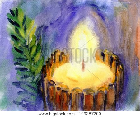 Watercolor Christmas Candle. Hand drawn illustration