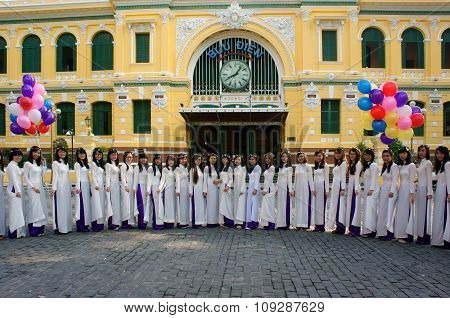 Vietnamese Student, Traditional Dress, Ao Dai, Ho Chi Minh City