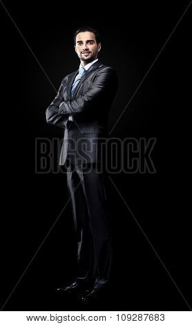 businessman isolated over black background