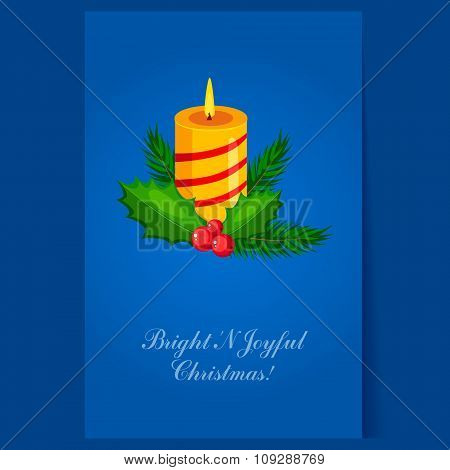 Christmas candle with fir sprigs and Holly greeting card
