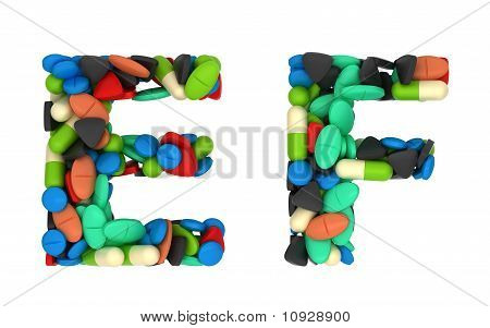 Pharmaceutical Font C And D Pills Letters