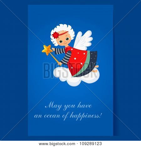Christmas Angel Flying with a Magic Wand. Winter Vector