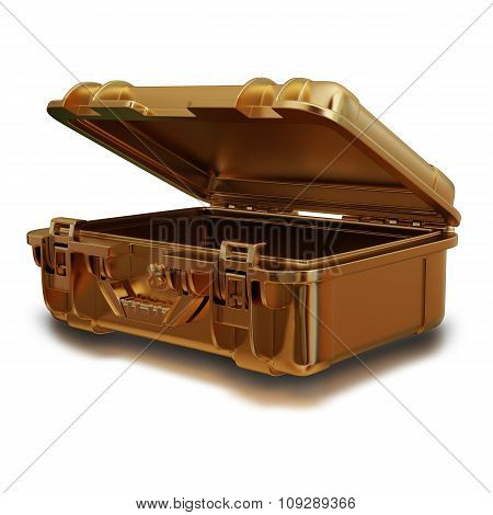 Illustration Of A Golden Suitcase. Isolated