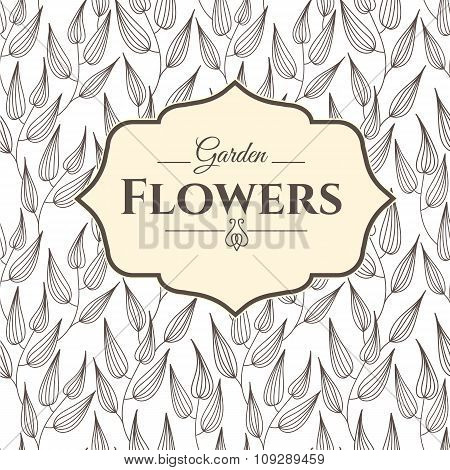 Seamless floral and leaves background. Funny doodling.