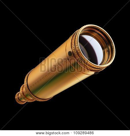 Illustration Of A Gold Spyglass. Isolated