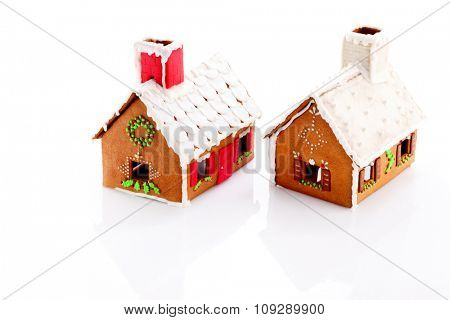 beautiful gingerbread hous on white background - sweet food
