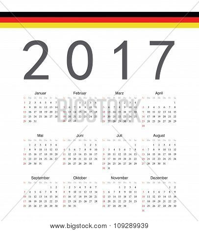 Square German 2017 Year Vector Calendar