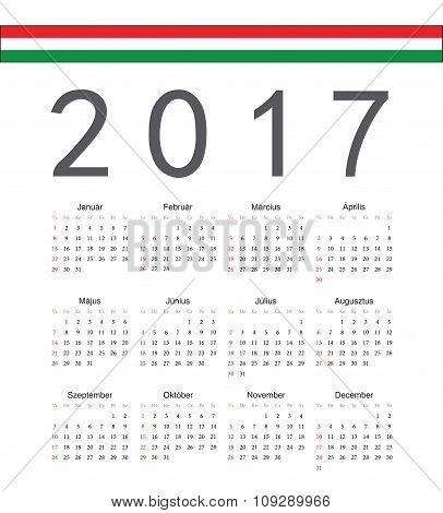 Square Hungarian 2017 Year Vector Calendar