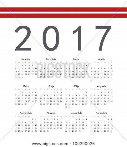 Square Latvian 2017 Year Vector Calendar