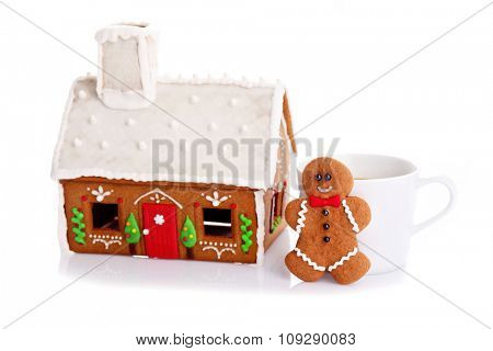 homemade gingerbread cookie on white - sweet food