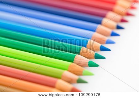Colour pencil isolated on white