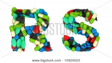 Pharmacy Font R And S Pills Letters