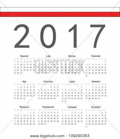 Square Polish 2017 Year Vector Calendar