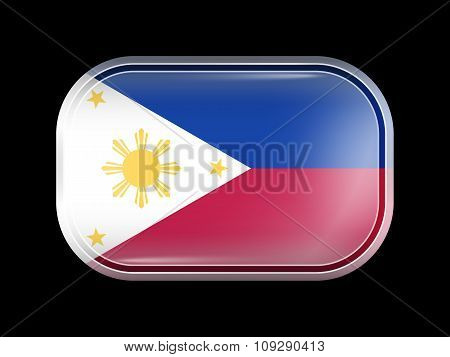 Flag Of Philippines. Rectangular Shape With Rounded Corners