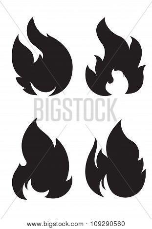 Set Of 4 Black Fires For Design Or Tattoo