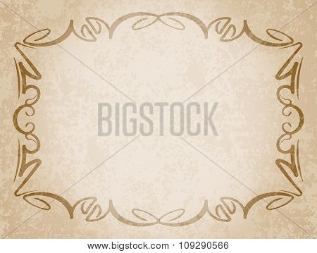 Luxurious Vintage Frame On Grunge Background With The Blacked Out Edges And A Blank Space For Text.