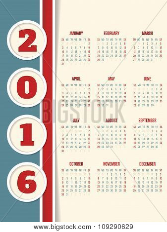 Calendar Design For Year 2016 With Circles