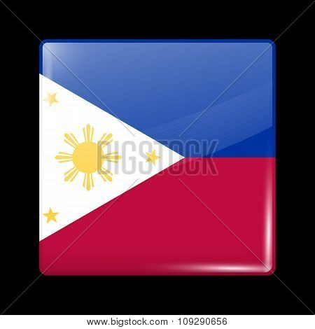 Flag Of Philippines. Glassy Icon Square Shape