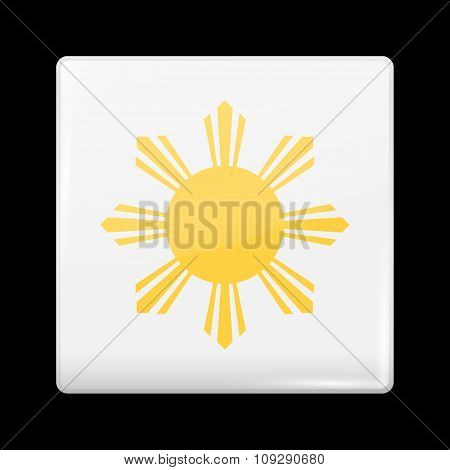 Philippines Variant Flag. Glassy Icon Square Shape
