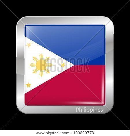 Flag Of Philippines. Metallic Icon Square Shape