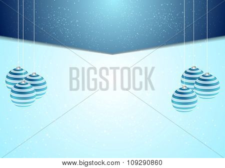 Blue corporate Xmas background with fir tree balls. Vector design