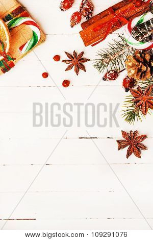 Christmas background with festive decorations and gift