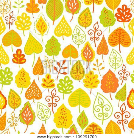Autumn seamless leaf background. Funny doodling.