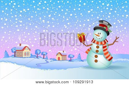 Christmas vector illustration - Snowman with gift