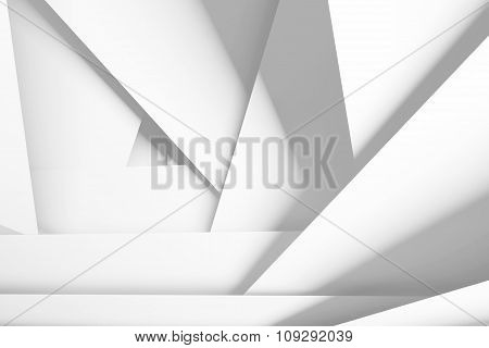 White Chaotic Multi Layered Planes, 3D Illustration