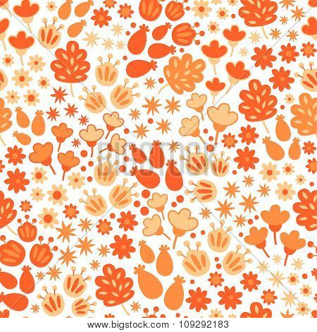 Seamless floral and flower background. Funny doodling.
