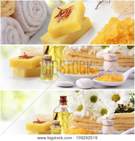 Yellow Spa Concept Collage. Soap And Essensials Spa Objects