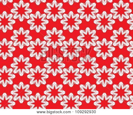 Seamless Pattern. Ornamental Abstract Background  In Red And White Colors.
