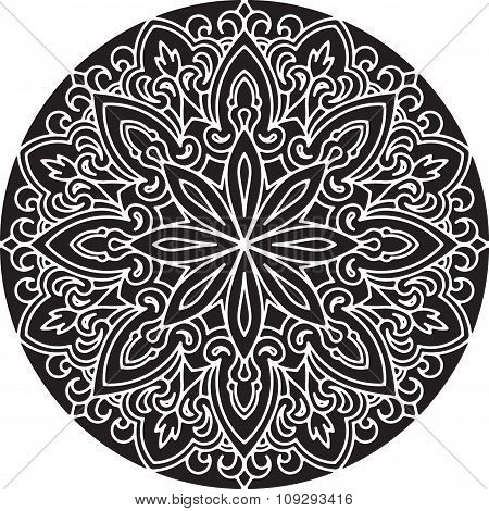 Abstract Vector Black Round Lace Design - Mandala, Ethnic Decorative Element.