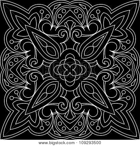 Abstract Vector Black Square Lace Design In Mono Line Style - Mandala, Ethnic Decorative Elements.