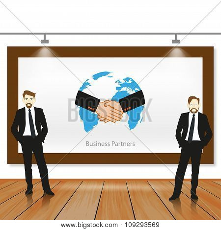 Illustration Of A Business Team Working In Partnership