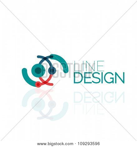 Outline swirl and circle minimal abstract geometric logo, linear business icon made of line segments, elements. illustration of loop, inifnity concepts